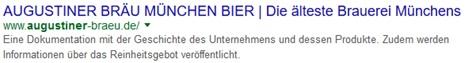Augustiner Bräu Google Snippet
