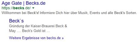 Beck`s Google Snippet