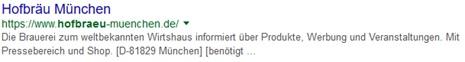 Hofbräu München Google Snippet