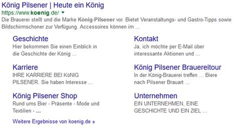 König Pilsener Google Snippet