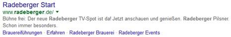 Radeberger Google Snippet